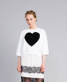 Sweat en coton avec cœur floqué Blanc Femme PA82CD-02