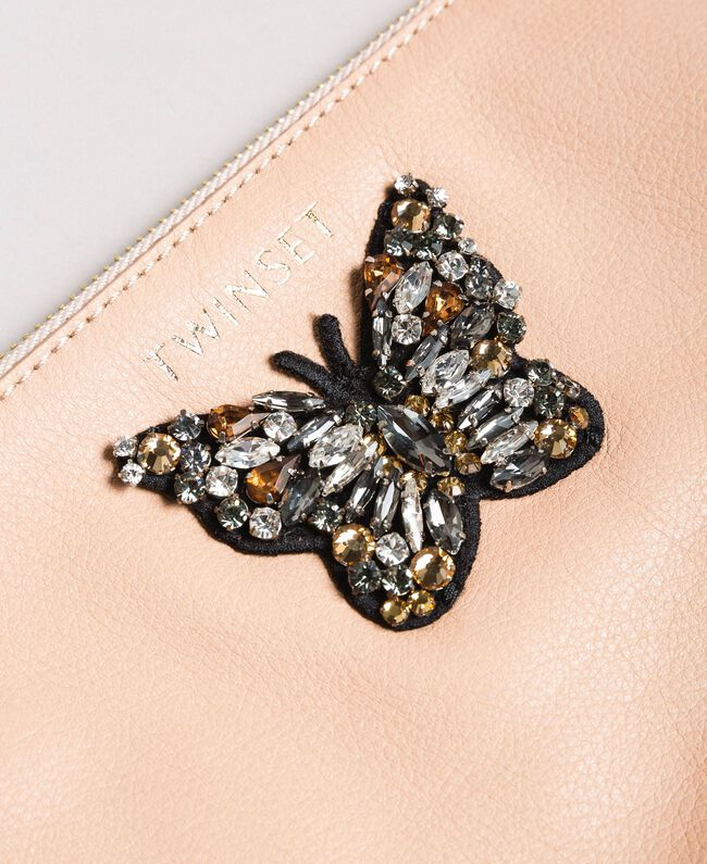 Leather clutch bag with butterfly Nougat Beige Woman 191TA7290-03