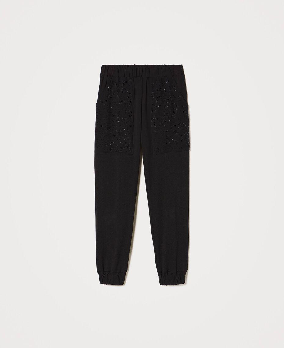 Pantaloni jogging con ricamo Nero Donna 202LI2HQQ-0S
