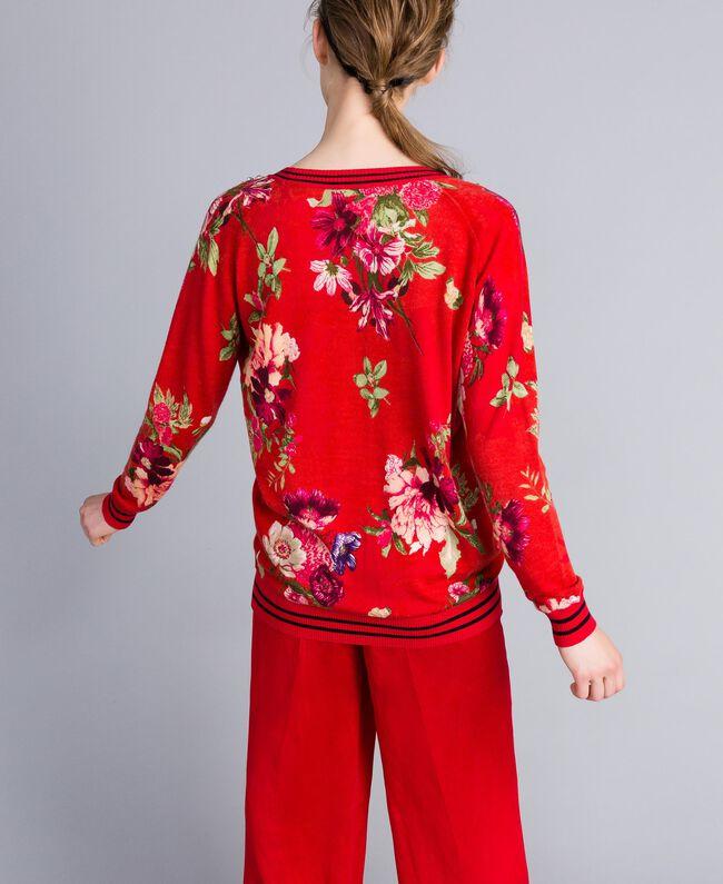 "Bedruckter Pullover aus Wolle mit Strass Print ""Red Garden"" Frau PA83KA-03"