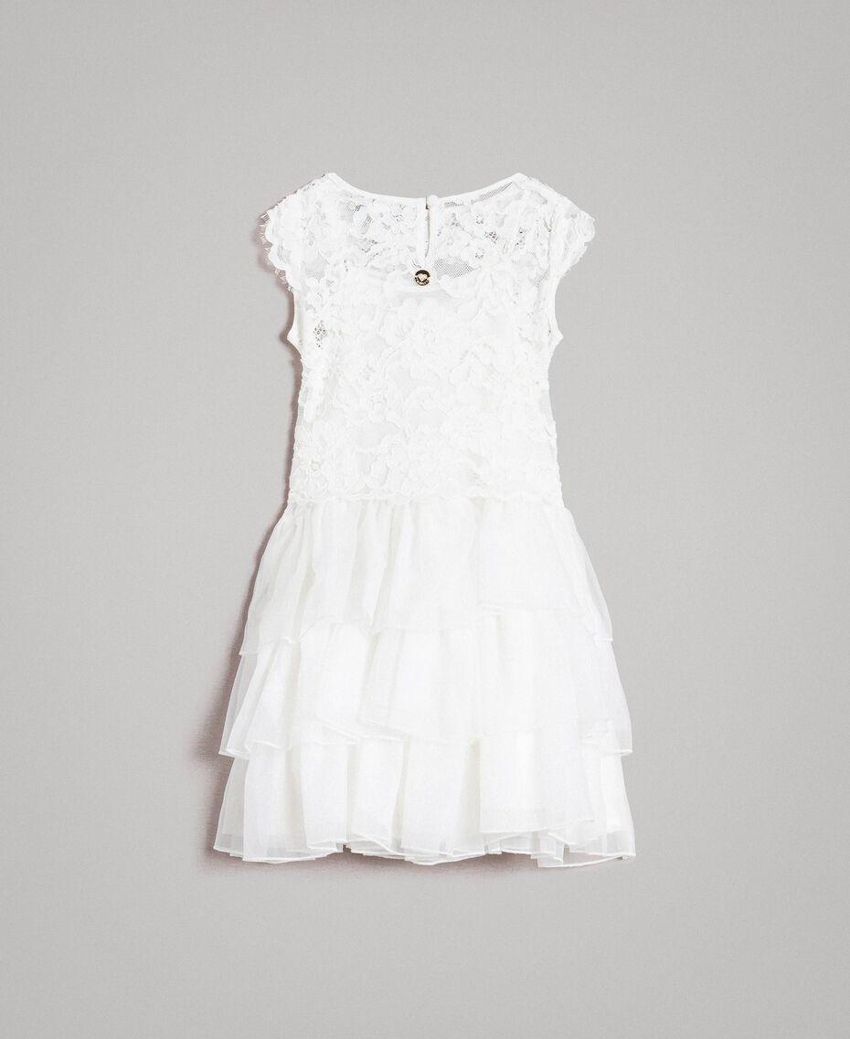 Kleid und Bluse aus Chinakrepp Mattweiß Kind 191GB2Q90-0S