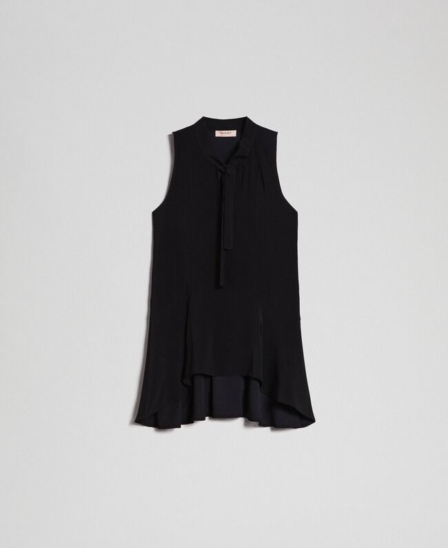 Georgette blouse with pussy bow Black Woman 192TP2383-0S