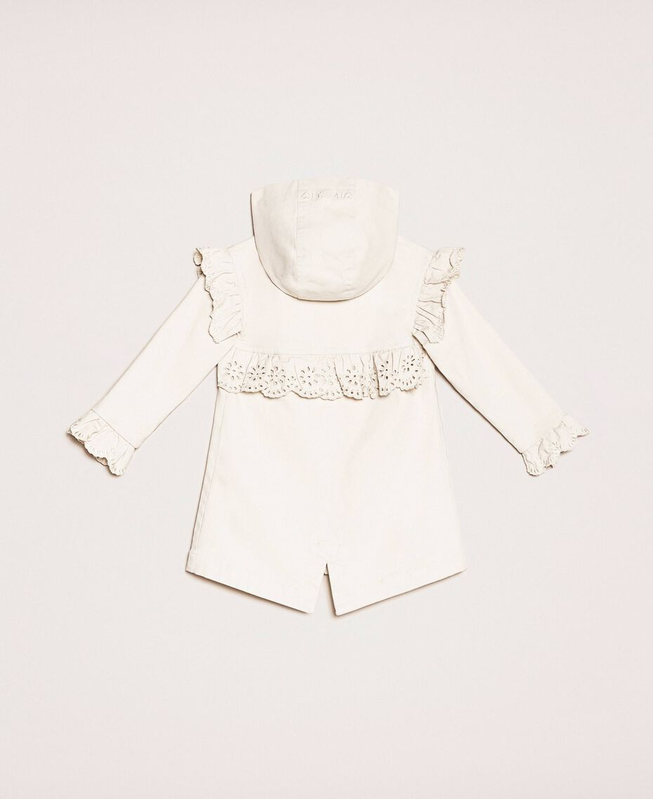 Canvas parka coat with broderie anglaise embroidery Pale Cream Child 201GB2152-0S