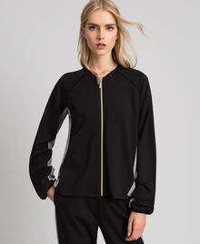 Zip sweatshirt with contrasting details Black/ Melange Gray Woman 192LI2HEE-01