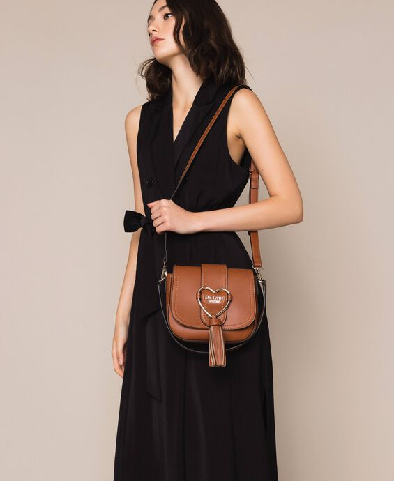 Faux leather shoulder bag with heart