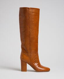 Leather boots with crocodile print Crocodile Leather Print Woman 192TCT036-04