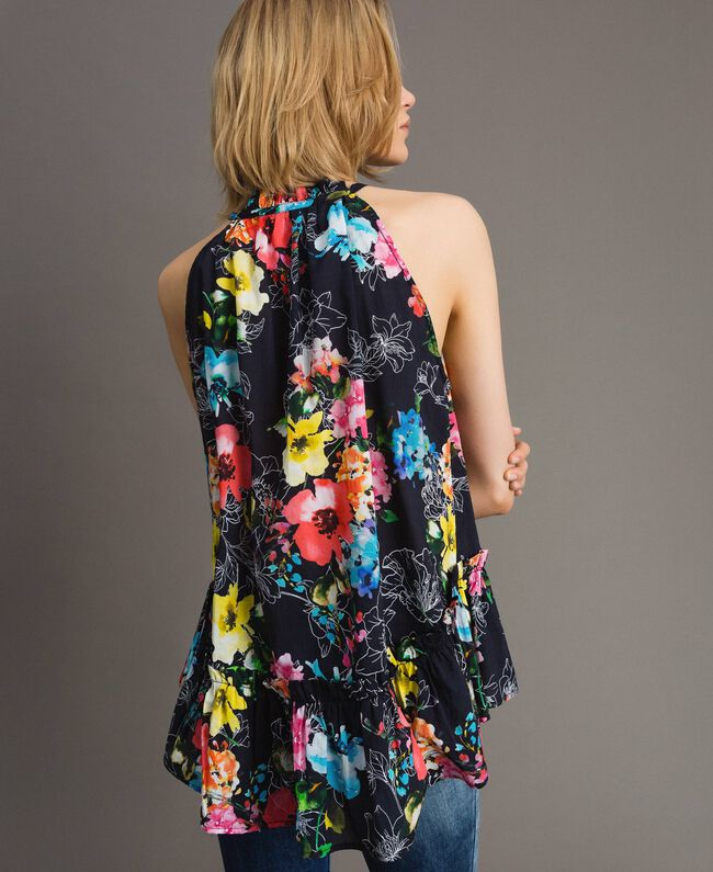 Floral print top with flounce All Over Black Multicolour Flowers Print Woman 191MT2292-04