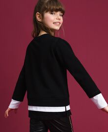Oversize sweatshirt with print and lace Two-tone Black / Optical White Child 192GJ2391-03