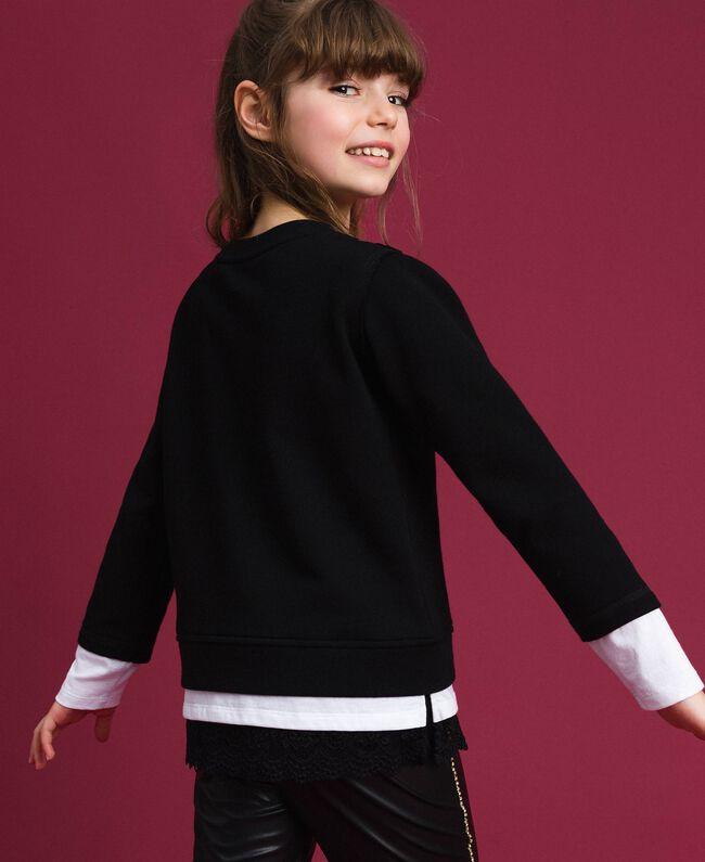 Sweat oversize avec imprimé et dentelle Bicolore Noir / Blanc Optique Enfant 192GJ2391-03