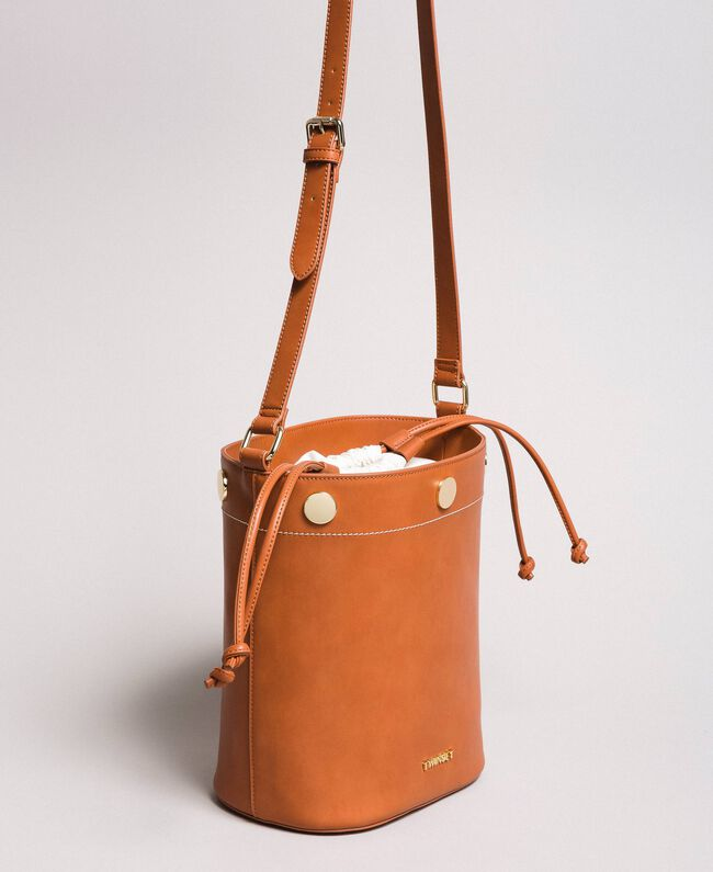 Faux leather bucket bag Leather Brown Woman 191TO8111-01