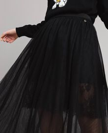 Tulle mid-length skirt Black Woman 191MP2130-03