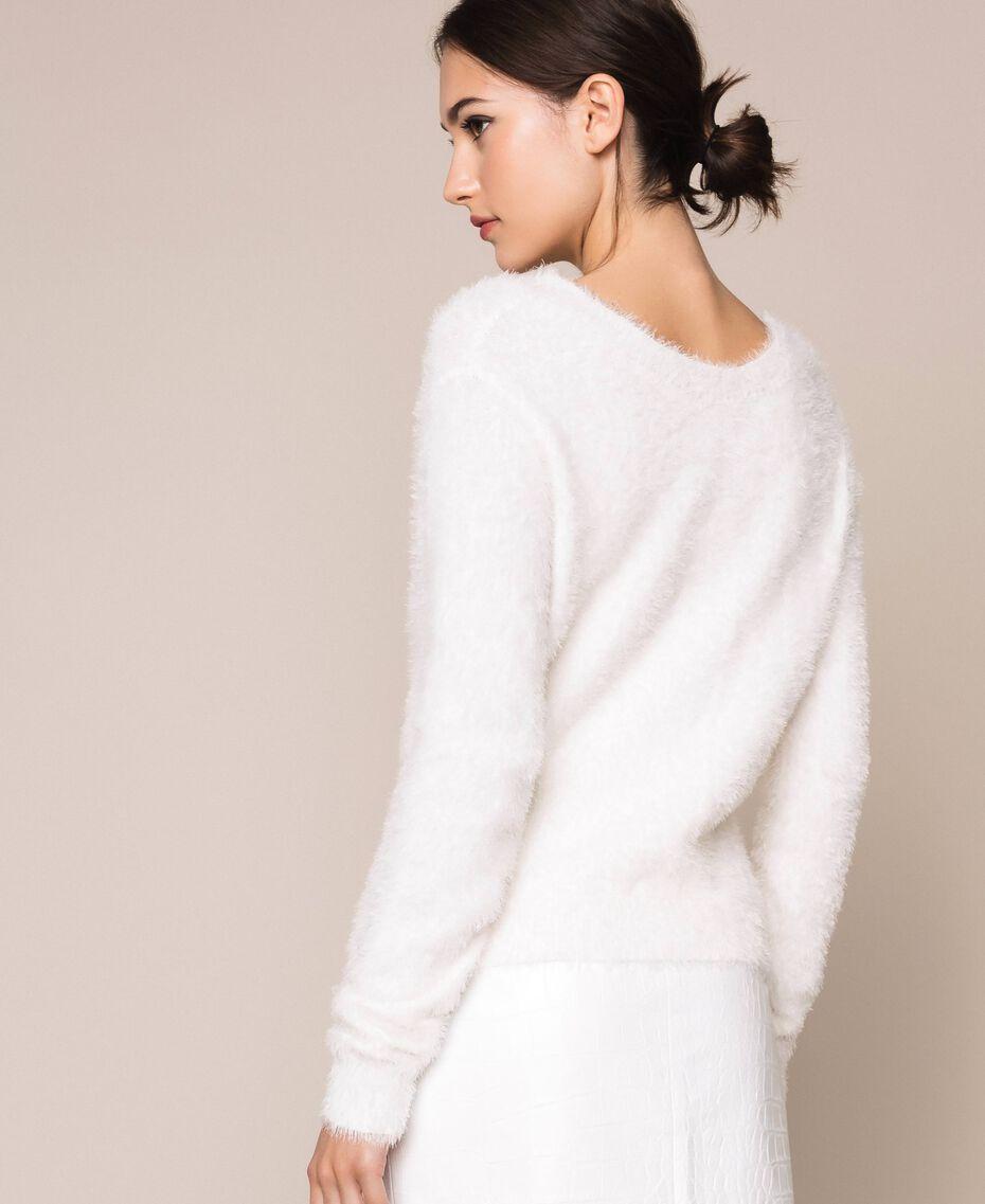 Maglia-cardigan in filato effetto pelliccia Nero Donna 201TP3091-02