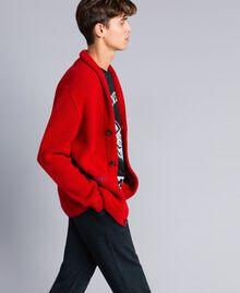 Cardigan in lana e alpaca Rosso Papavero Uomo UA83DB-03