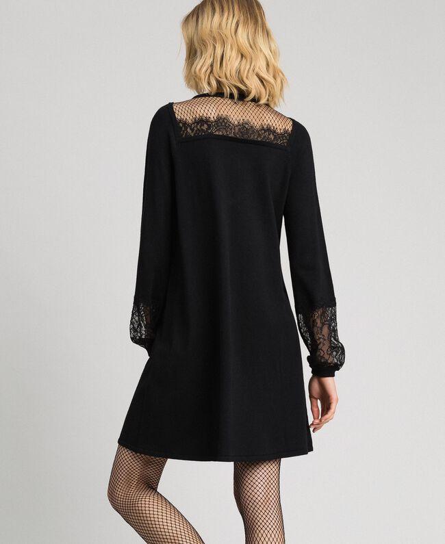 Robe avec dentelle et tulle plumetis Noir Femme 192TP3170-04