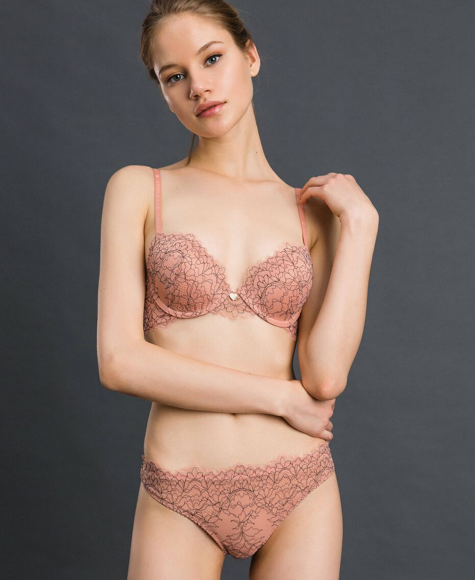 Lace and tulle G-string Peach Rose / Black Woman 192LI6488-01