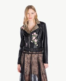 Embroidered biker jacket Black Woman PS82DN-04