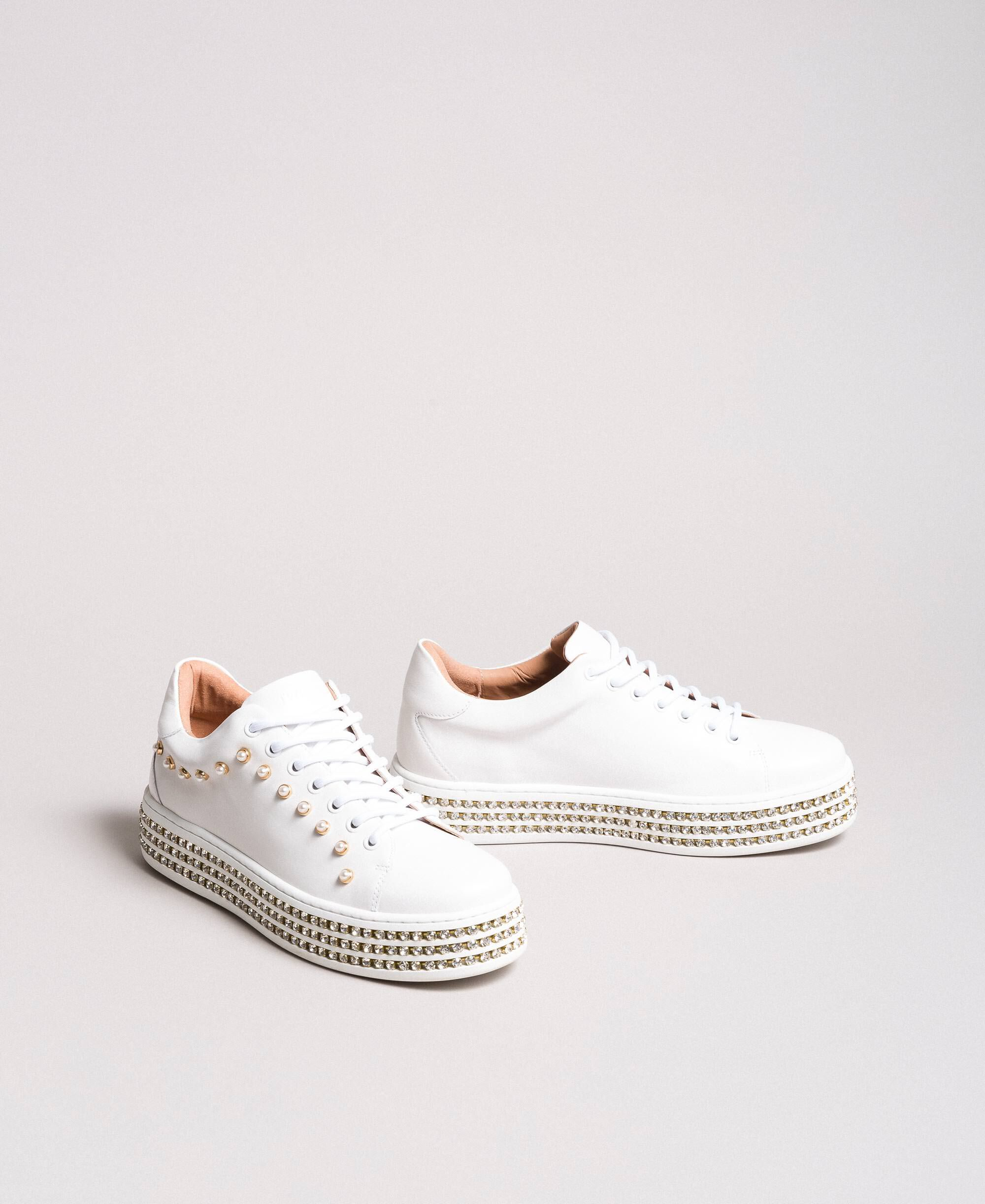 Leather sneakers with rhinestones and