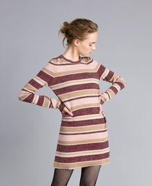 Striped lurex mini dress Multicolour Pink / Burgundy Woman PA832P-01
