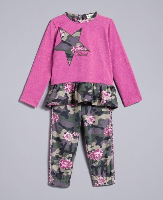 "Sweatshirt mit Stern und Jogginghose Zweifarbig ""Bougainville""-Rosa / Camouflage Kind FA82N2-01"