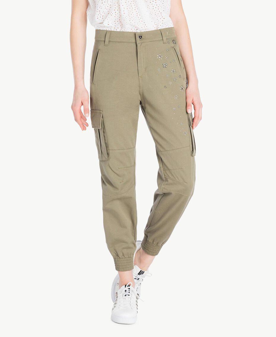 Pantalon combat Vert Militaire Femme JS82QH-01