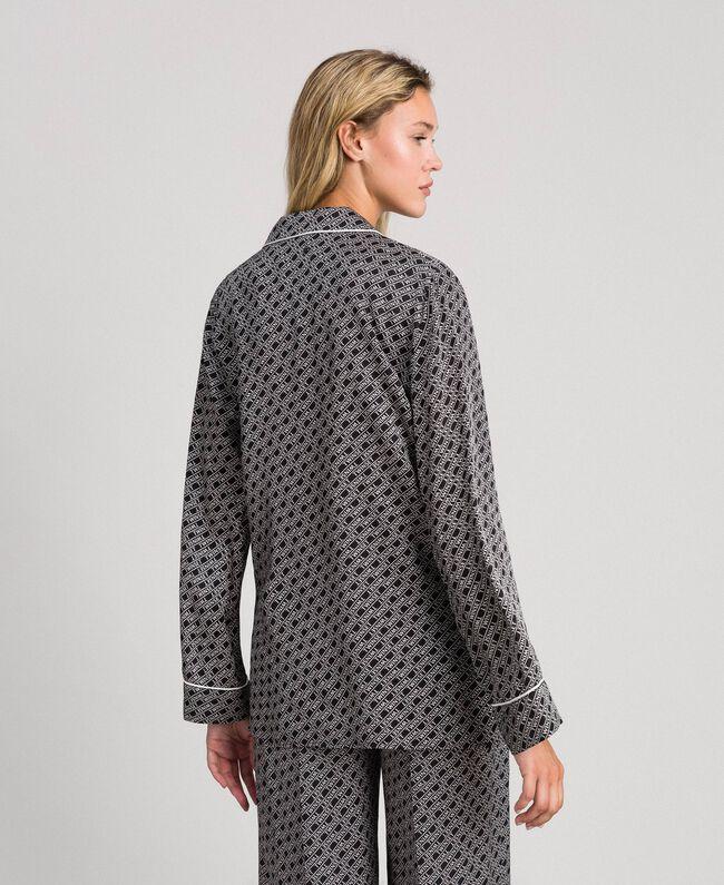 "Twill shirt with logo print Black / ""Snow"" White Logo Print Woman 192TP258A-04"