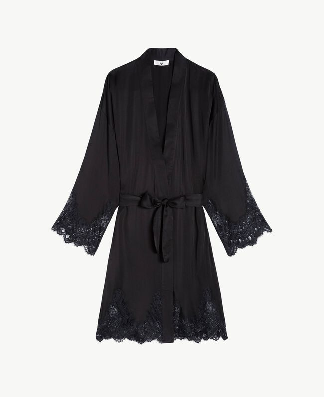 Satin dressing gown Black Woman LS8CKK-01