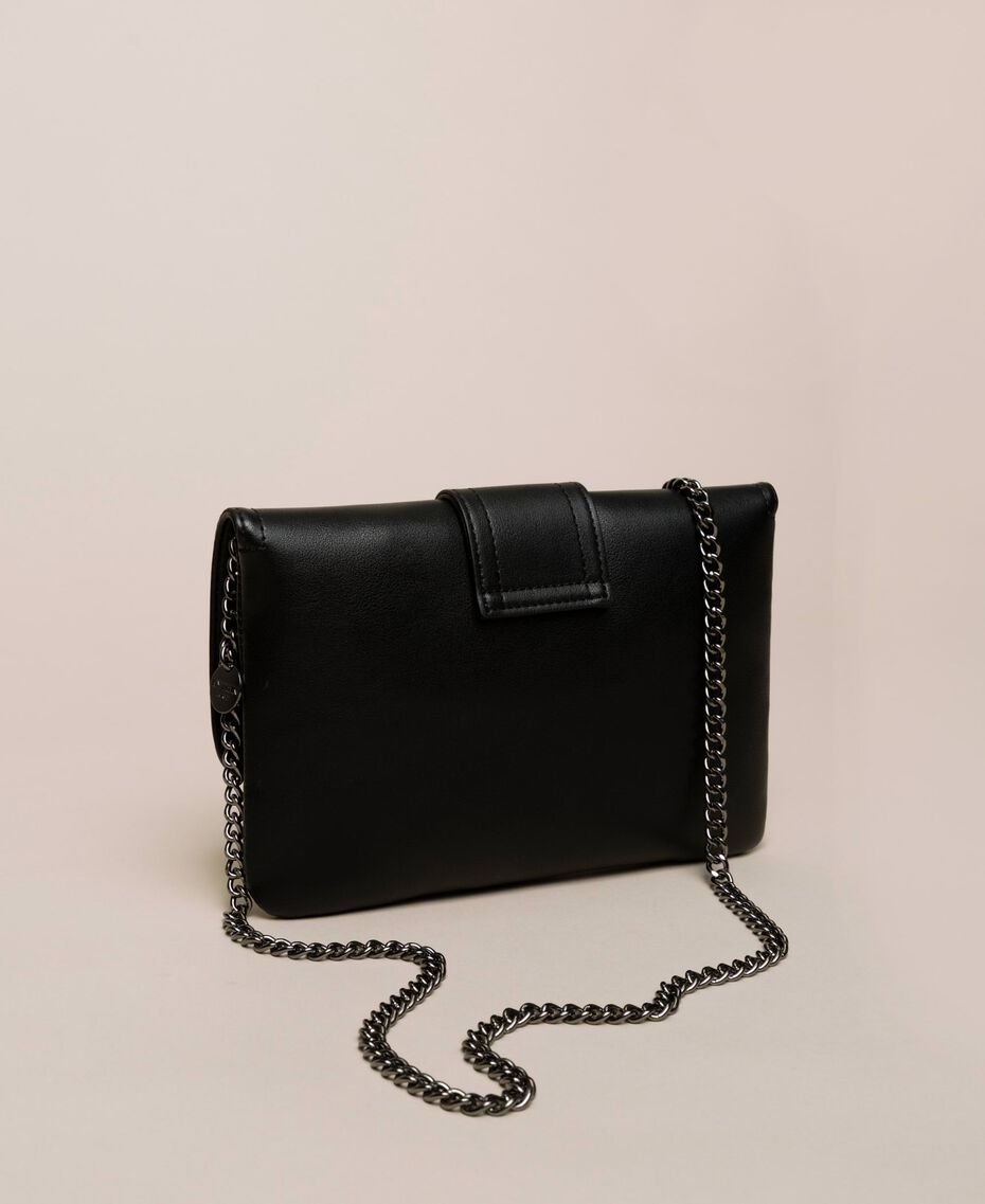 Faux leather pochette with decorative buckle Black Woman 201MO8121-03