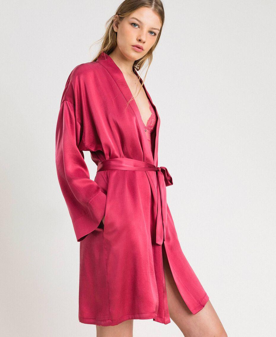Robe de chambre en satin Bouton De Rose Femme 191LL2DEE-02