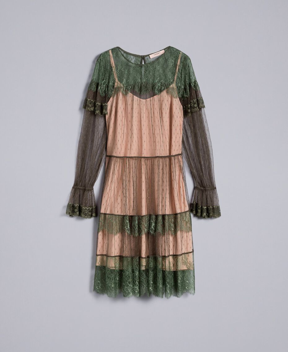 Tulle plumetis and lace dress Forest Green Woman TA82XB-0S