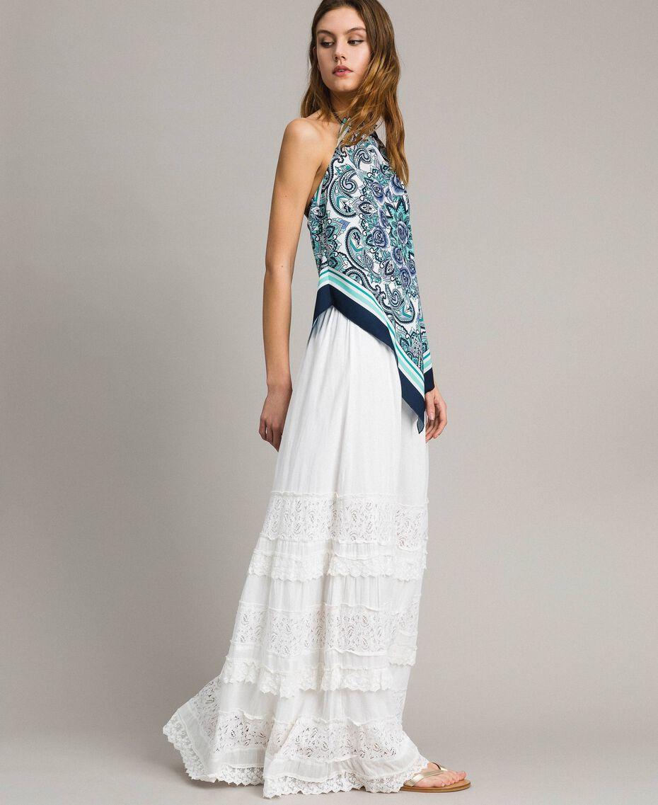 Falda larga con encaje y bordados Hueso Mujer 191MT2272-02