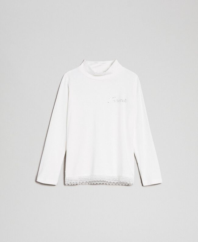 Jersey t-shirt with lace Off White Child FCN2D1-01