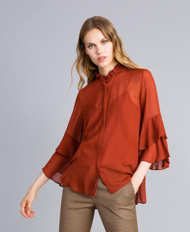 Milano Mujer Georgette Camisa Con Volantes De Twinset Marrón qHnHzB0Ixw