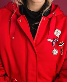 Technical satin padded parka coat Poppy Red Woman 192MP2082-04