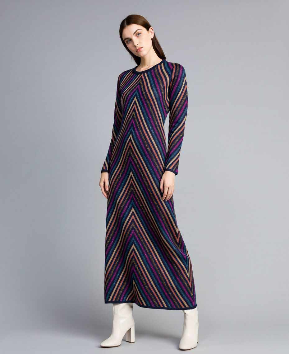 Robe longue jacquard à rayures lurex multicolores Jacquard Rayure Lurex Bleu Femme TA838E-02