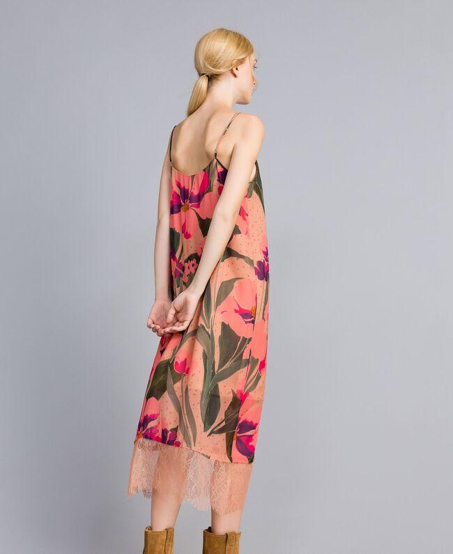 Robe nuisette en crêpe georgette imprimé Imprimé Rose Grande Tulipe Femme TA828U-03