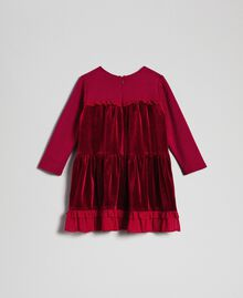 Velvet dress with georgette flounce Ruby Wine Red Child 192GB2271-0S