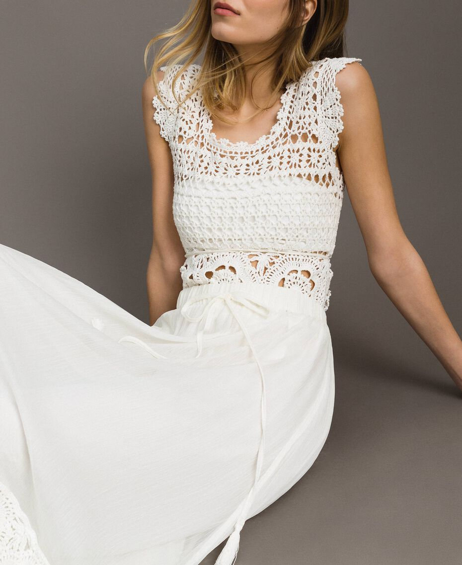 Long skirt with crochet insert Ivory Woman 191LM2NEE-05