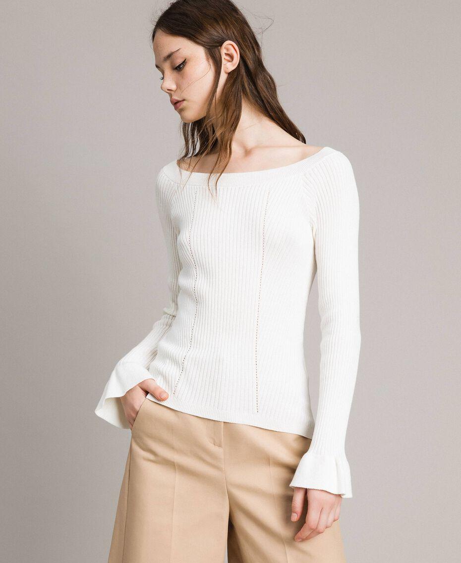 Pullover mit Streifendessin Weiß Schnee Frau 191TP3272-02