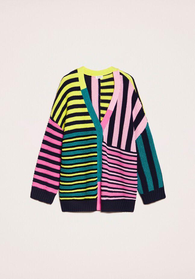 Maxi cardigan with multicolour stripes