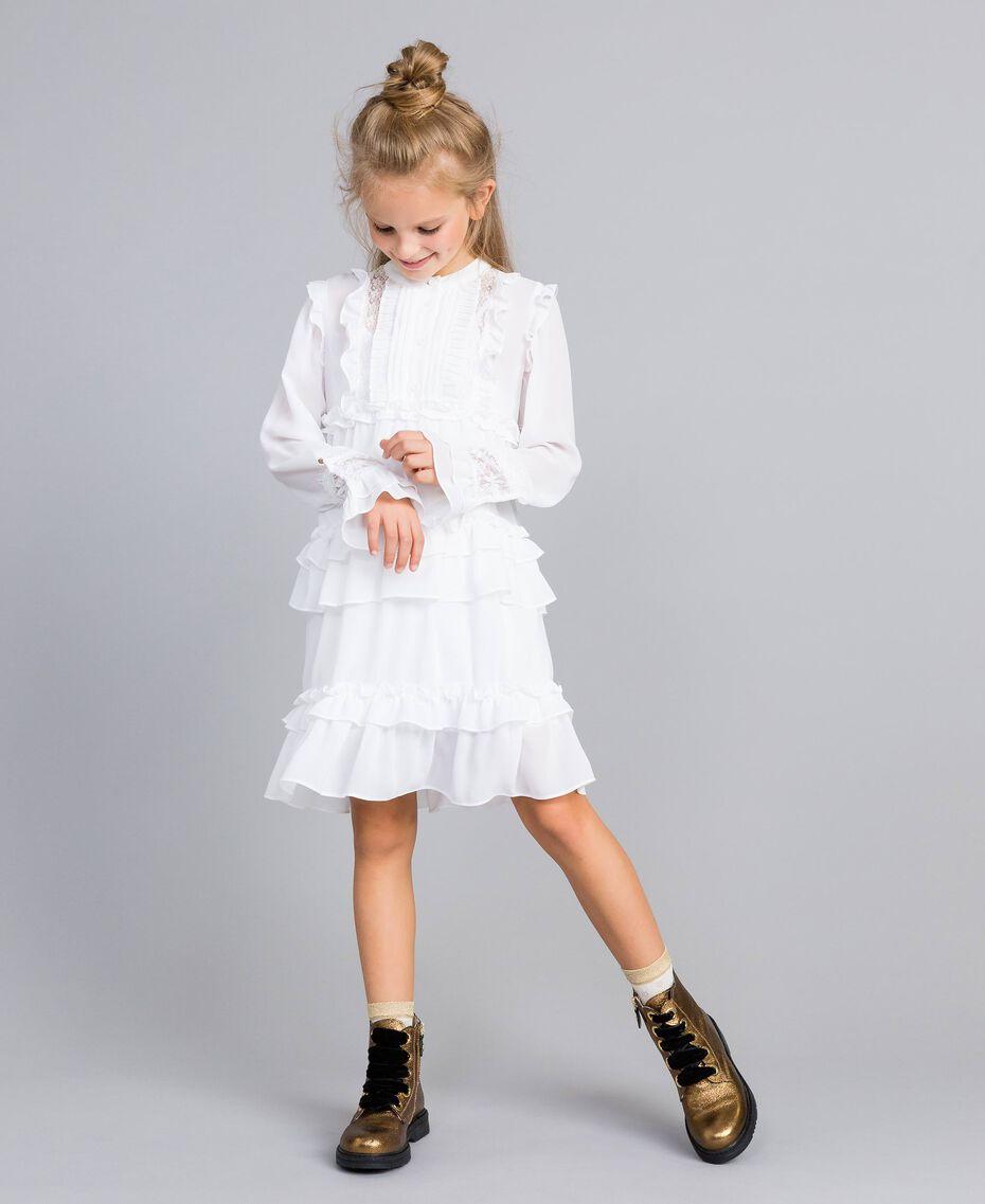 Robe volantée en crêpe georgette Off White Enfant GA82HA-02
