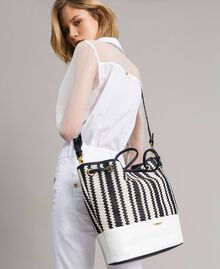 Plaited faux leather bucket bag Indigo Woman 191TO8131-0S