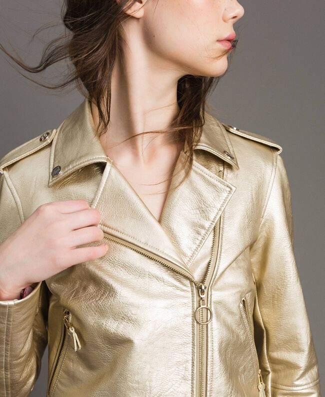 Laminated gold faux leather biker jacket Gold Yellow Woman 191MP2140-04