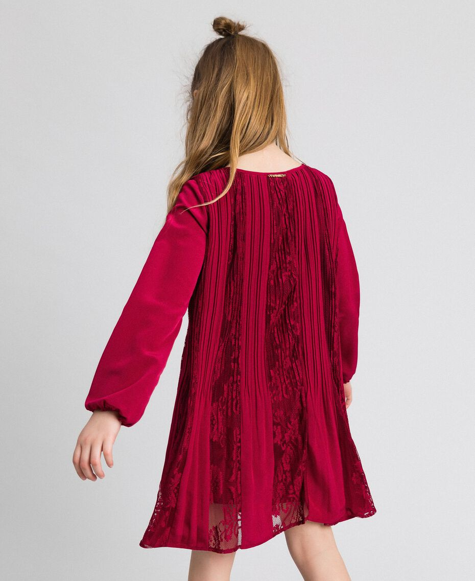 Pleated crêpe and lace dress Ruby Wine Red Child 192GJ2521-02