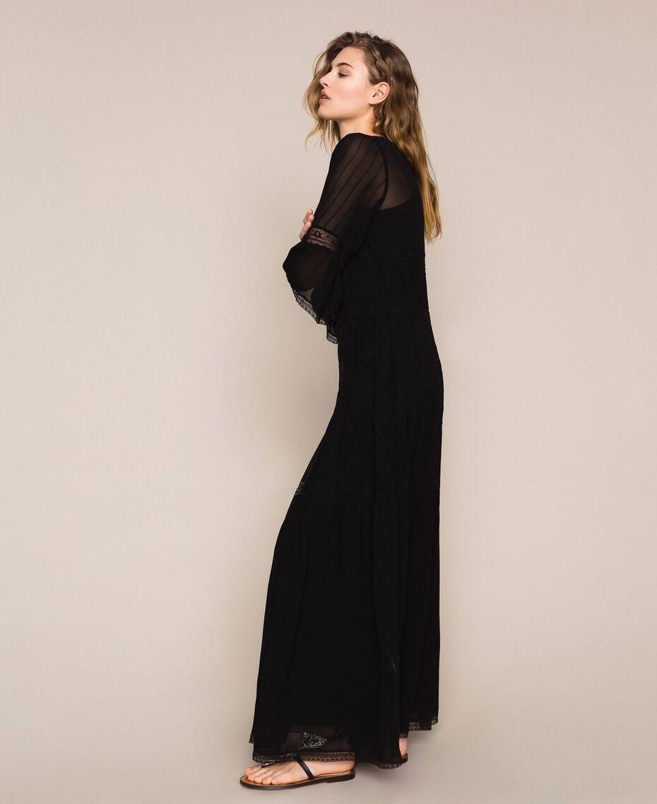 Robe longue en crêpe georgette avec dentelle Noir Femme 201TT2085-02