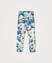 Pantalon taille haute tie & dye Tie Dye Blanc «Neige» / Bleu Femme 211TT2542-0S