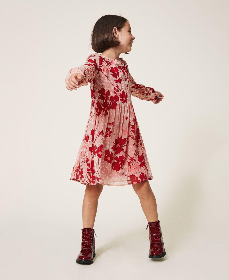 Kleid aus Georgette mit Blumendessin Blumen-Animal-Dessin Pfirsich / Kirschrot Kind 202GJ262A-02