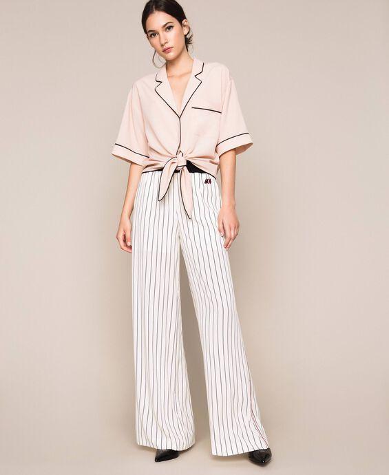Striped crêpe de Chine trousers