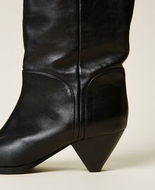 Bottes cuissardes en cuir avec talon conique Noir Femme 212TCT110-04