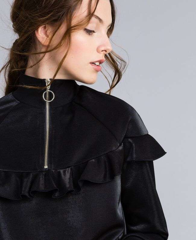 Sweatshirt aus technischem Stoff mit Rüschen Schwarz Frau IA85BB-01