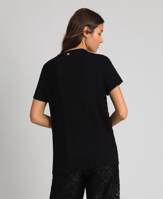 Блуза со вставкой из кружева макраме Черный женщина 192MP2492-03
